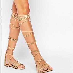 Daisy Street Lace Up Gladiator Sandals